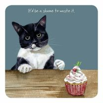 The Little Dog Black and White Cat Cupcake Coaster