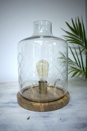 Morgan Wright Etched Glass Hurricane Light - Natural