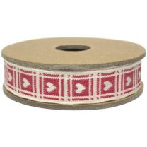 Cream Heart on Red Gingham Fabric Ribbon East of India