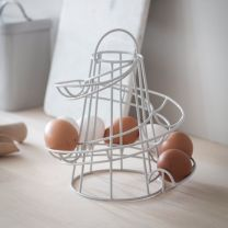 Powder coated steel egg run / egg holder in chalk finish