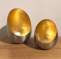 Set of 2 Nestling Silver & Gold Candle Holders