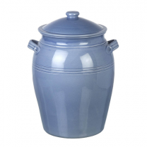 Miel Bread crock in light blue. Handmade & hand painted Portuguese Ceramics