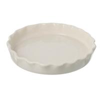 Miel cream ceramic flan dish. 260mm diameter.