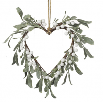 Parlane Decorative Hanging Green Leaf Heart & White Berries