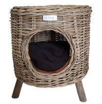 RT Round Grey Pet Stool with Mango Wood Feet and Black Cushion