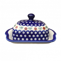 Polish Pottery - Boleslawiec Lidded Butter Storage Dish in Cranberry