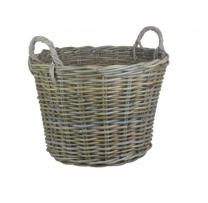 Round Kubu Grey Rattan Log Basket