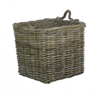 Medium Square Grey Rattan Log Basket