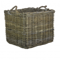 Large Square Grey Rattan Log Basket