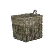 Willow Direct Medium Square Grey Rattan Log Basket 1