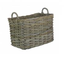 SmallRectangular Grey Rattan Log Basket