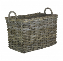 Large Rectangular Grey Log Basket