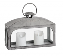 Rectangular Distressed Matte Grey Coach Lantern