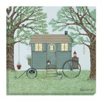Sally Swanell Shepherds Hut Canvas Wall Art - 40cm x 40cm