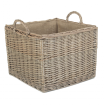 Large Square Lined Wicker Log Basket