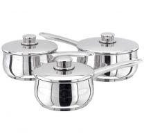 Stellar 1000 3pc Saucepan set - includes 16, 18 and 20cm saucepans with lids