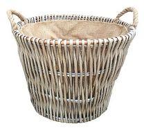 Grey round log basket with liner