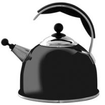 W2824 - AGA Stainless Steel Whistling Kettle in Black