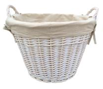 White Wash Lined Log basket