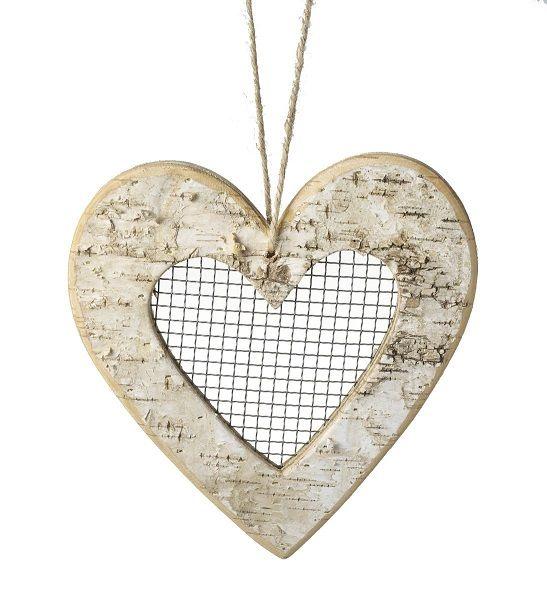 Parlane Large Natural Birch Hanging Heart Decoration